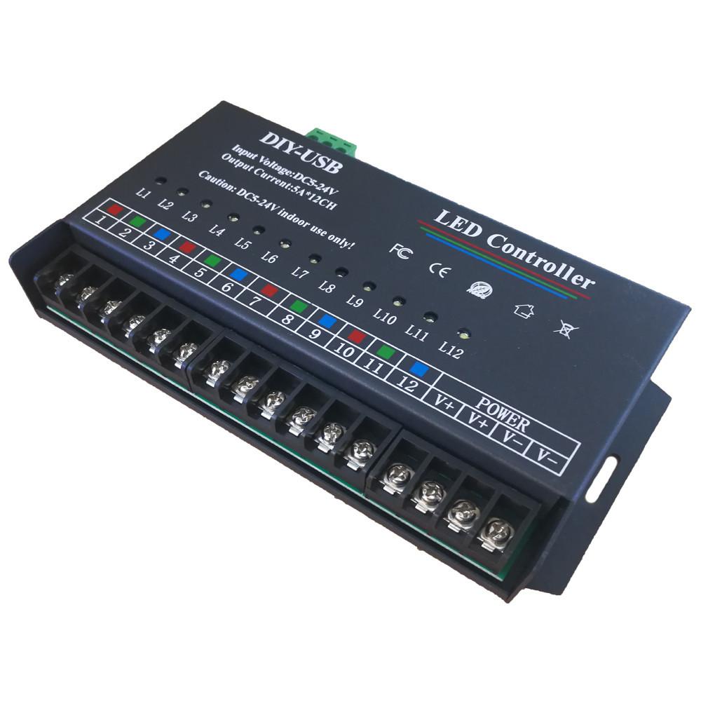 DIY-USB  5V12伏24V单色可编程12路跑马灯控制器LED七彩扫描控制器